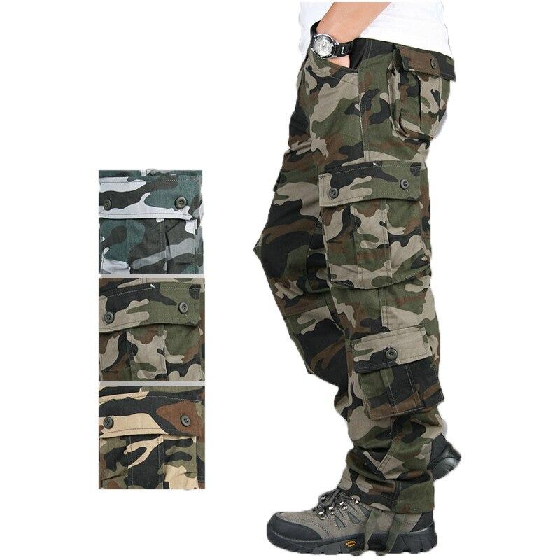 Cargo Camuflaje pantalones 29-44 hombres casual Tooling 2020 primavera otoño ejército táctico pantalones Multi-Bolsillo lavado verde ejército suelto # k5g