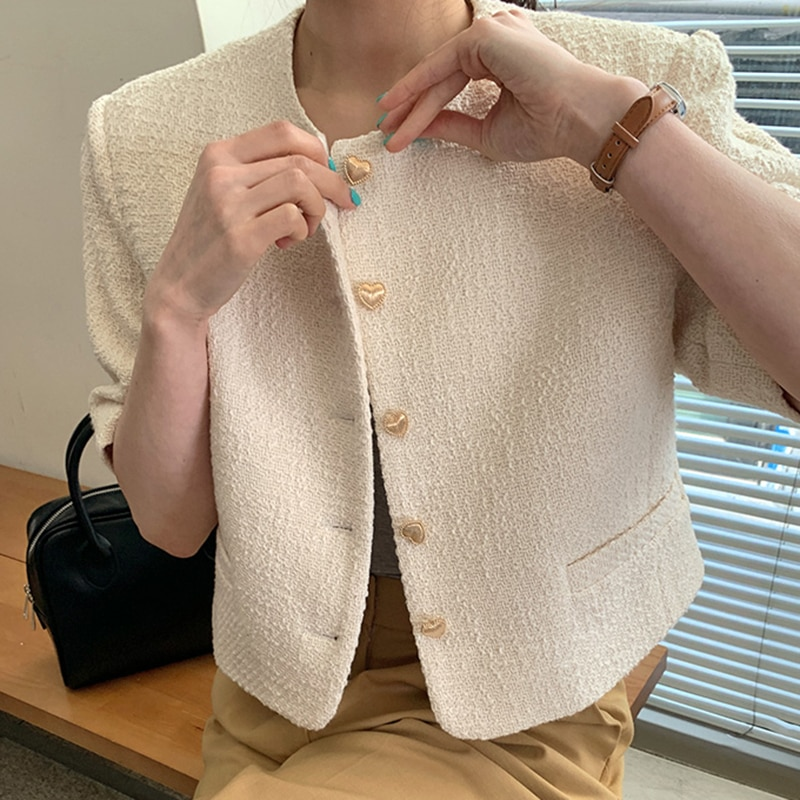 Korea chic summer gentle round neck chic love buttons loose casual all-match short-sleeved duffle coat women chic round neck long sleeve beaded coat for women