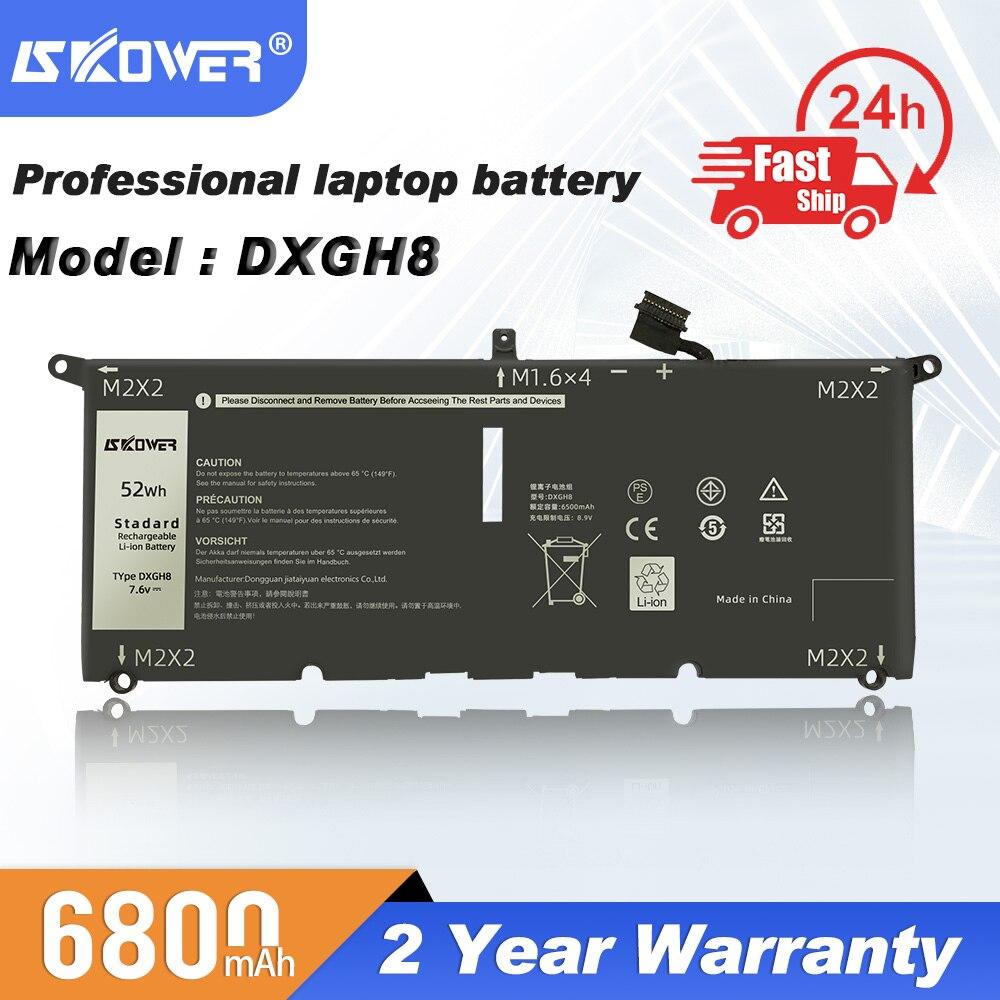 2021 أحدث SKOWER 7.6V 52WH DXGH8 بطارية كمبيوتر محمول لديل XPS 13 9380 9370 G8VCF H754V 0H754V P82G