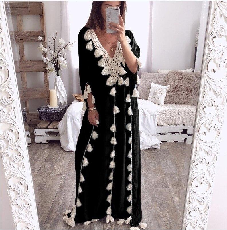 Vestido de noche largo musulmán para mujer, Túnica holgada de talla grande...