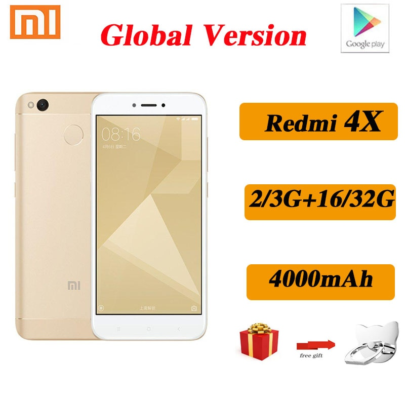 Смартфон Xiaomi Redmi 4X, 4000 мАч, HD экран, Snapdragon 435, задняя камера 13 МП, Google play