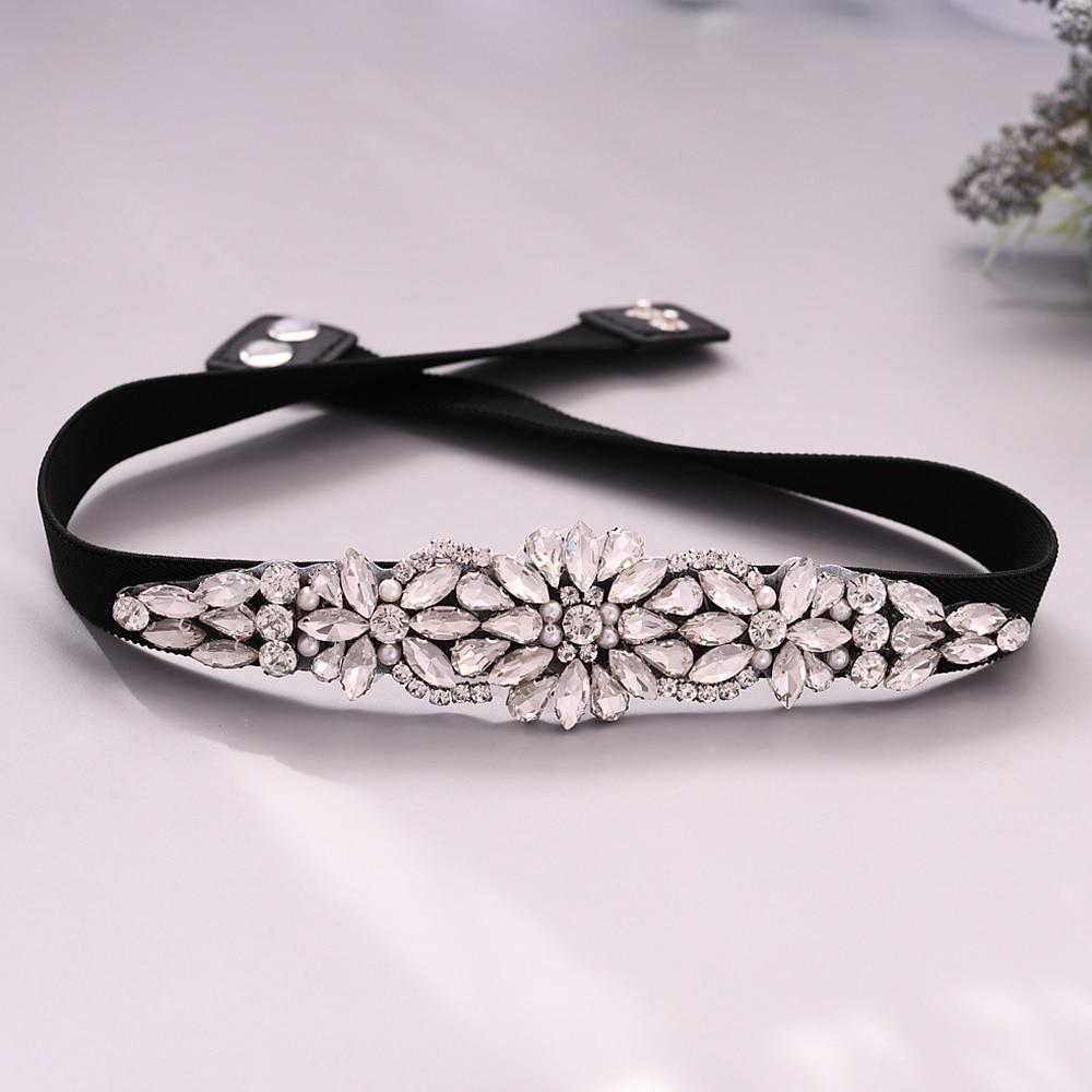 TRiXY S407 Women Elastic belt  beaded belt bridal diamond belts for women jewel belt for women rhinestone black belt