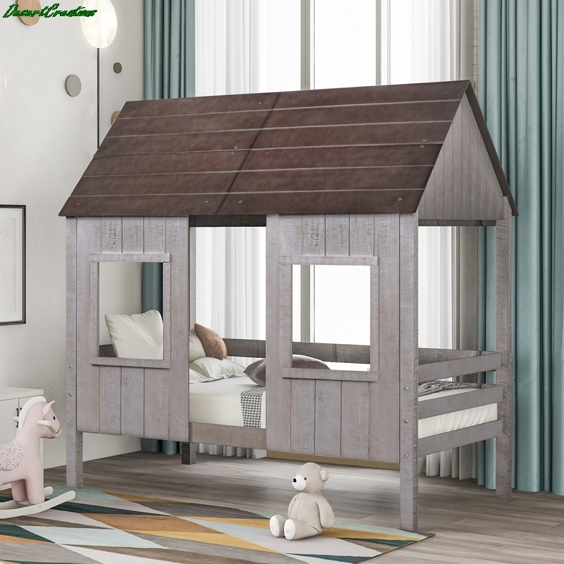 Twin Size Low Loft Wood House Bed With Two Front Windows For Kids Teens Girls Boys Bedroom Furniture