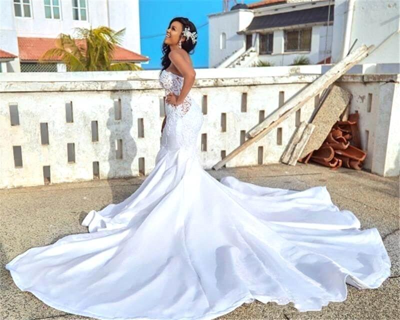 فستان زفاف فاخر حورية البحر ، بدون ظهر ، مع تنورة قابلة للفصل ، بدون حمالات ، مطرز ، مجموعة 2020