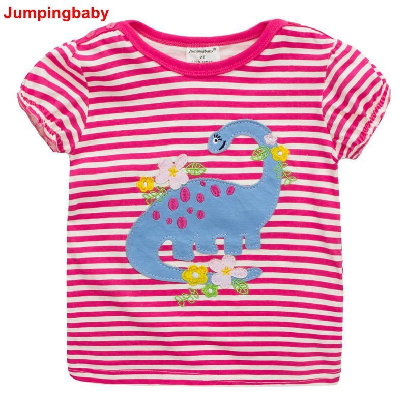 Camiseta para niñas 2019, camisetas de verano de Dinossauro, ropa para niños, ropa infantil, ropa infantil para niña
