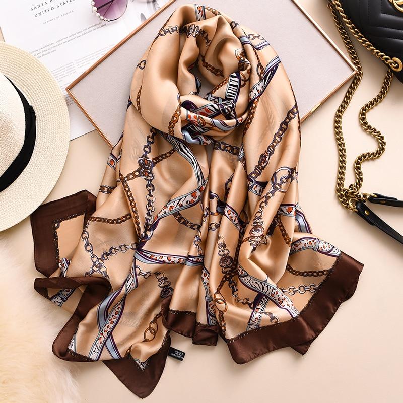 Fashion Leopard Chain Element Silk Scarf for Women 2020 Spring New Shawls and Wraps Luxury Designer Foulard Neck Scarves Hijab