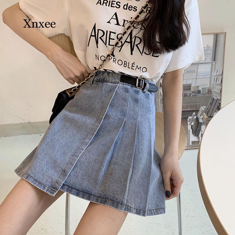 High Waist Jeans Skirt Women Summer A-line Short Skirts New 2020 Korean Style All-match Elegant Ladies Pleated Denim Skirt solid 2020 new korean style elegant split embroidered a line denim midi skirt korean harajuku skirt jean skirt denim skirt