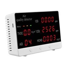 Qualidade do ar monitor portátil escritório em casa valor médio display led grande tela abs hcho tvoc co2 co detector de gás em tempo real dados
