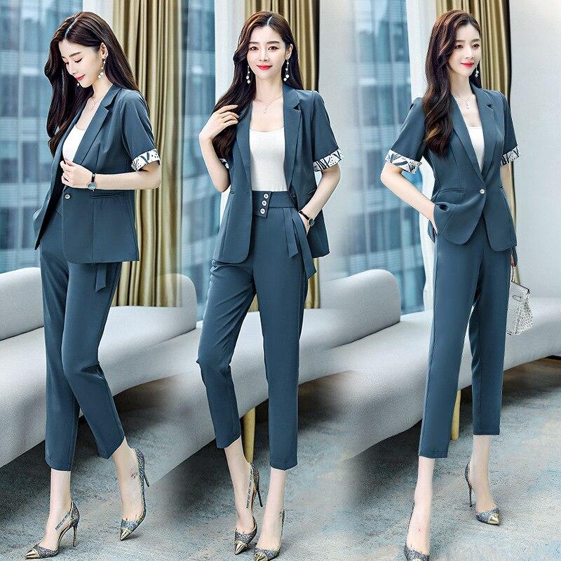 بدلة صغيرة غير رسمية دعوى الإناث 2021 الصيف نمط جديد الكورية مزاجه الموضة المهنية ارتداء قطعتين حجم كبير