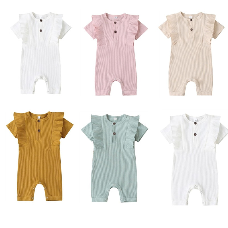 Mameluco de bebé de moda de Color sólido cuello redondo de manga corta mono de bebé acanalado de punto de verano botón volantes monos largos para niños