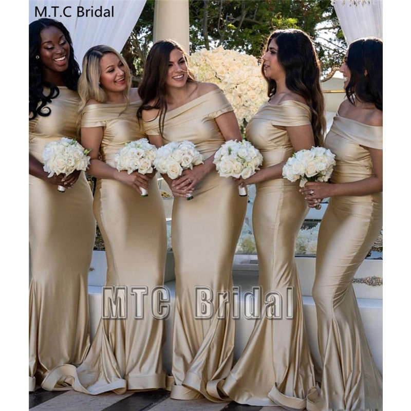 Wholesale Mermaid Bridesmaid Dresses Off The Shoulder Satin Long Wedding Party Dress Plus Size Maid Of Honor Gowns Cheap