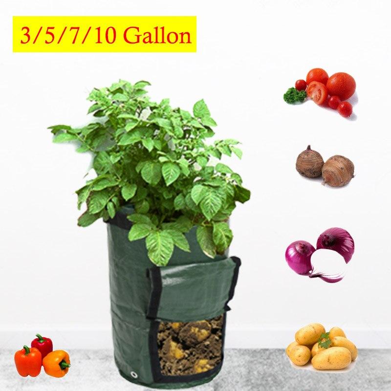 Bolsas de tela de PE para plantas, bolsas de cultivo de patatas para plantar verduras, macetas de jardín, bolsa de cultivo, herramienta de jardín en casa
