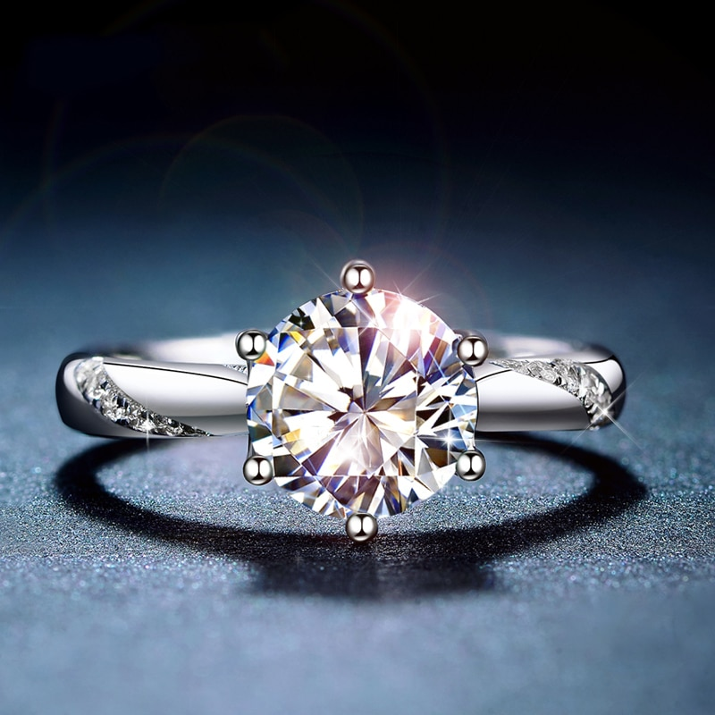 Clássico 925 prata esterlina moissanite anel 1ct ij cor laboratório diamante jóias estilo simples anel de aniversário