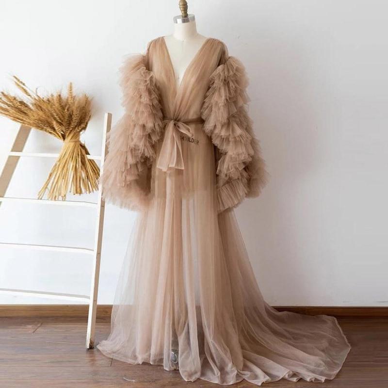 See Thru-فستان زفاف تول للنساء ، لون شامبانيا ، أكمام طويلة ، كشكش ، طبقات ، أكمام طويلة ، ثوب زفاف