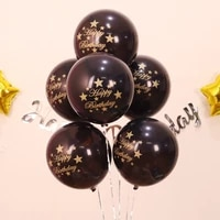 6 pcspack 10 inch colored latex balloons with happy birthday letters and stars pattern for party birthday decoration