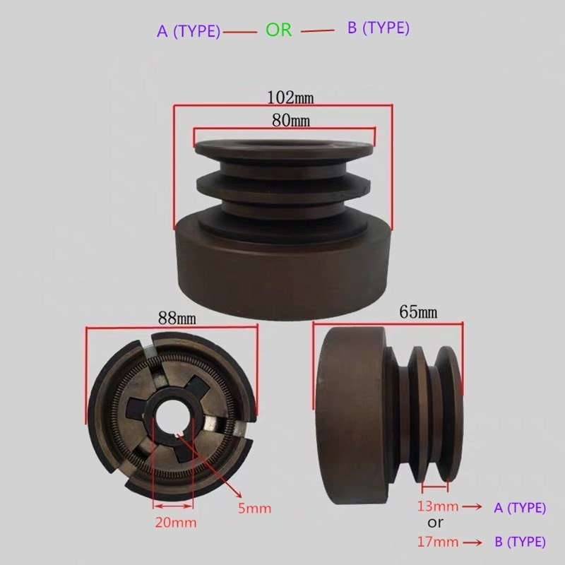 Embrague de correa de doble ranura (tipo A) o (tipo B) apto para motor de Gas 168F/170F/GX200 con salida de eje de 20mm utilizado para bomba de agua/cortador