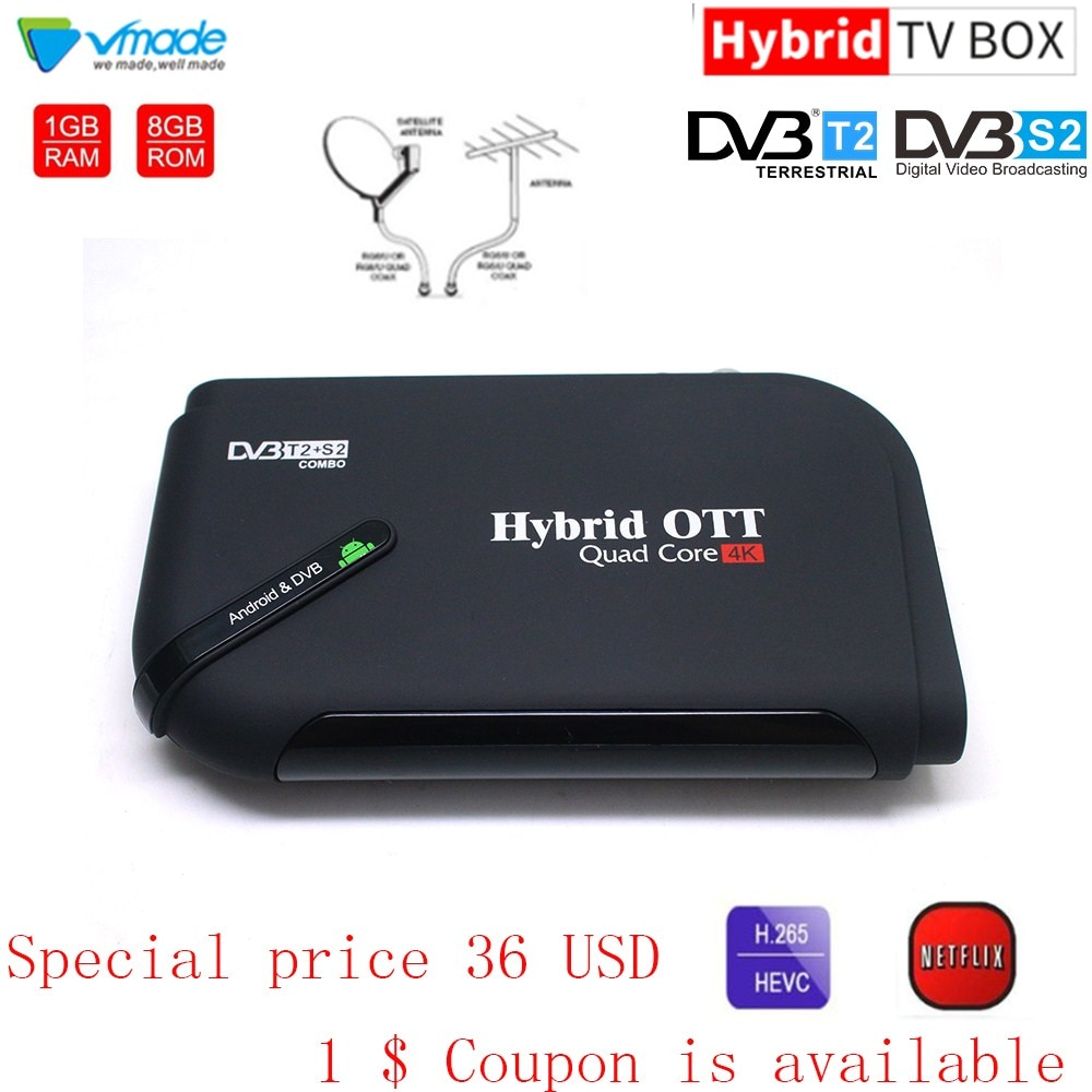S905D-T2 + s2 android 7.1 os octa núcleo smart tv box 1 + 8 gb amlogic s905d quad-core wifi 2.0 ghz receptor de satélite terrestre combo