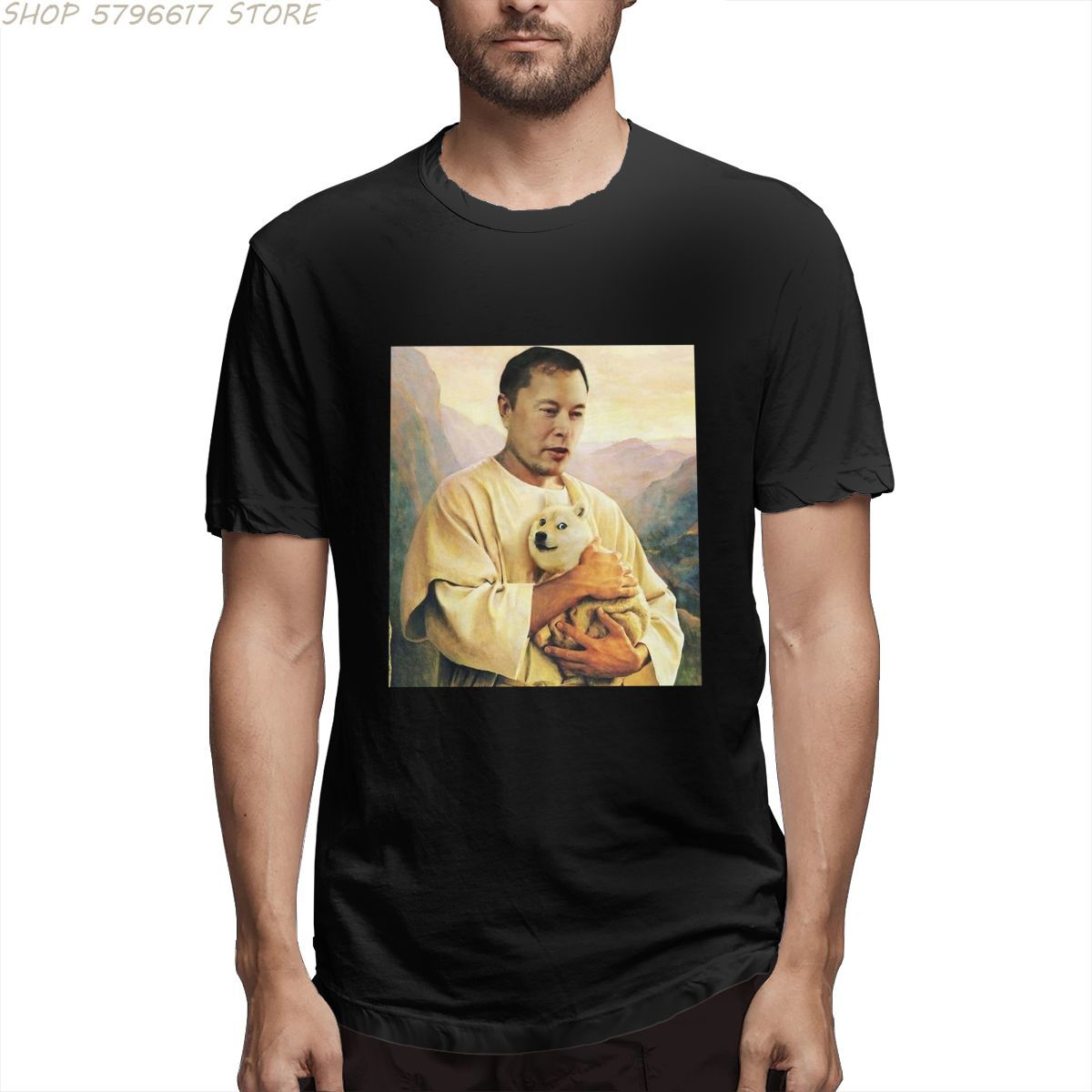 Илона маска дожкойн мем живопись для мужчин юмор футболка с круглым вырезом и короткими рукавами, летняя одежда из хлопка