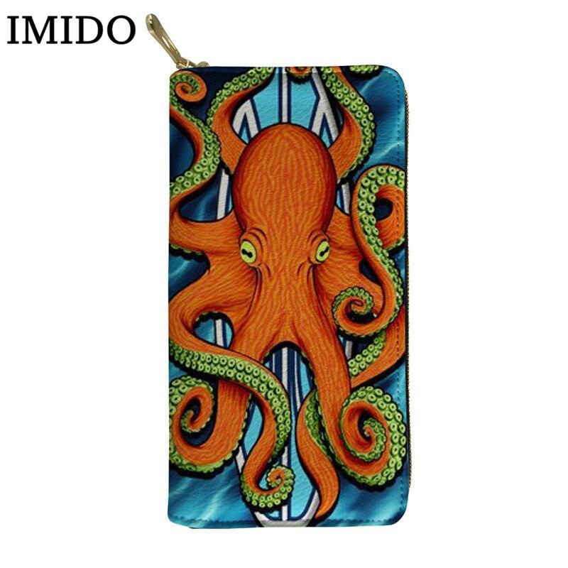 Personalizada de la cartera pulpo tabla de surf diseño mujeres hombres monedero de cuero bolsas resistentes al agua para teléfono para damas Bolsa porta tarjetas