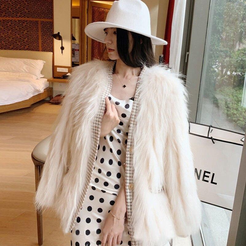 Женская куртка из искусственного меха, короткая теплая свободная парка с искусственным мехом енота, элегантное пальто для зимы 2021