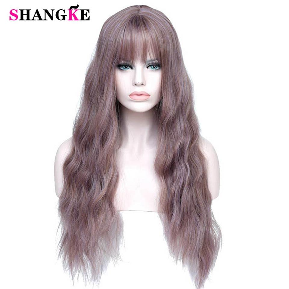 Pelucas de mujer largo SHANGKE de color morado con flequillo, pelucas rizadas sintéticas resistentes al calor para mujer afroamericana