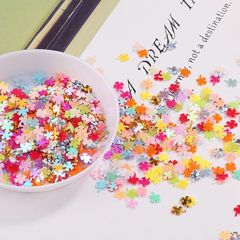 10g trevo glitter lantejoulas para artesanato diy 4mm lantejoulas confetes de costura paillettes unhas arte manicure casamento decoração natal