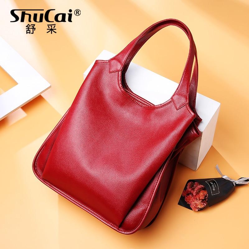 المرأة حقيبة يد عادية 100% جلد طبيعي موضة سيدة حقيبة كتف سعة كبيرة حقيبة كبيرة حقائب مكتبية عالية الجودة أسود