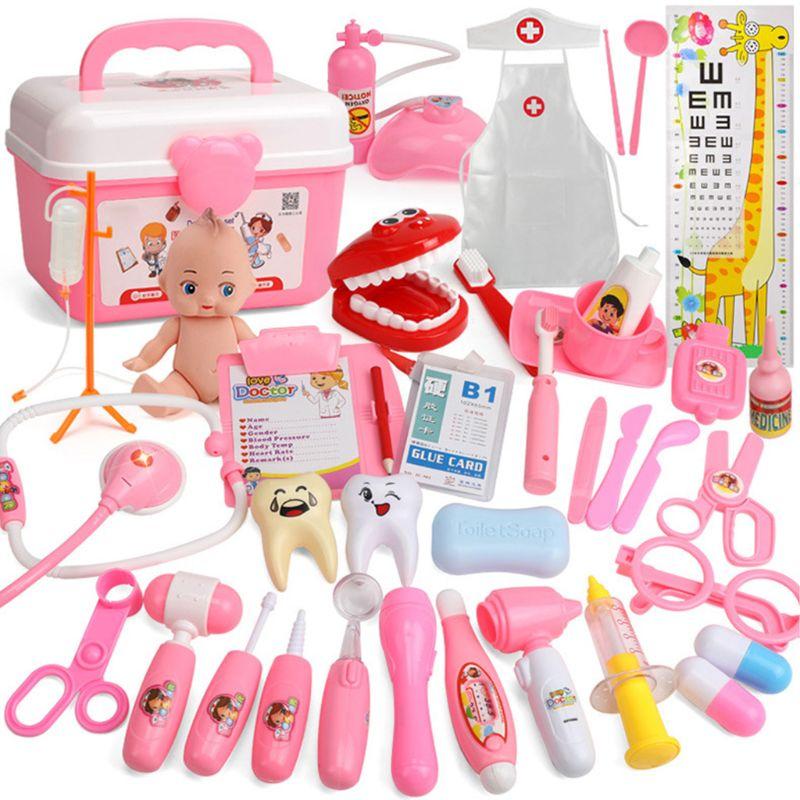 26/31/39 pces fingir médico enfermeira brinquedo kit dentista playset para meninos meninas presentes a2ub