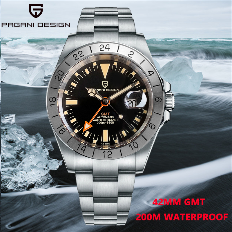 2021 PAGANI DESIGN New Men's GMT Automatic Mechanical Clock 316L Stainless Steel 200m Waterproof Men's Watch Reloj Hombre