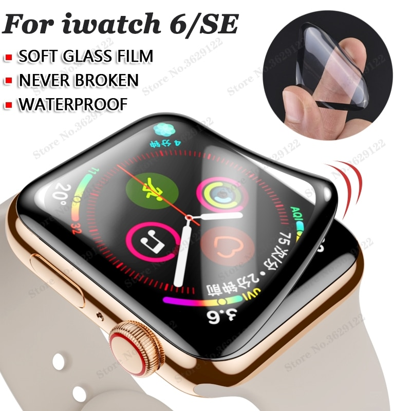 waterproof screen protector for apple watch 6/SE 44MM 40MM (Not Tempered Soft glass) film for Iwatch