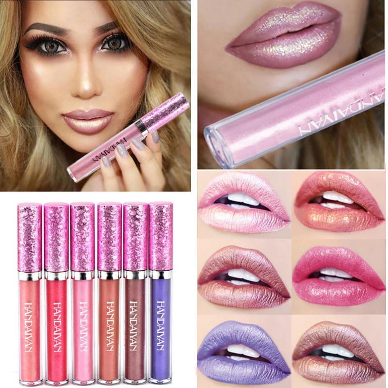 Colorido diamante líquido brillo barra de labios de larga duración antiadherente brillo de labios sirena brillo Bling lápiz labial impermeable
