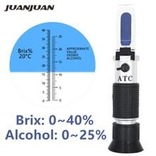 Mesure de concentration de vin de sucre de réfractomètre dalcool tenu dans la main densitomètre 0-25% bière dalcool 0-40% raisins Brix ATC 48% de réduction