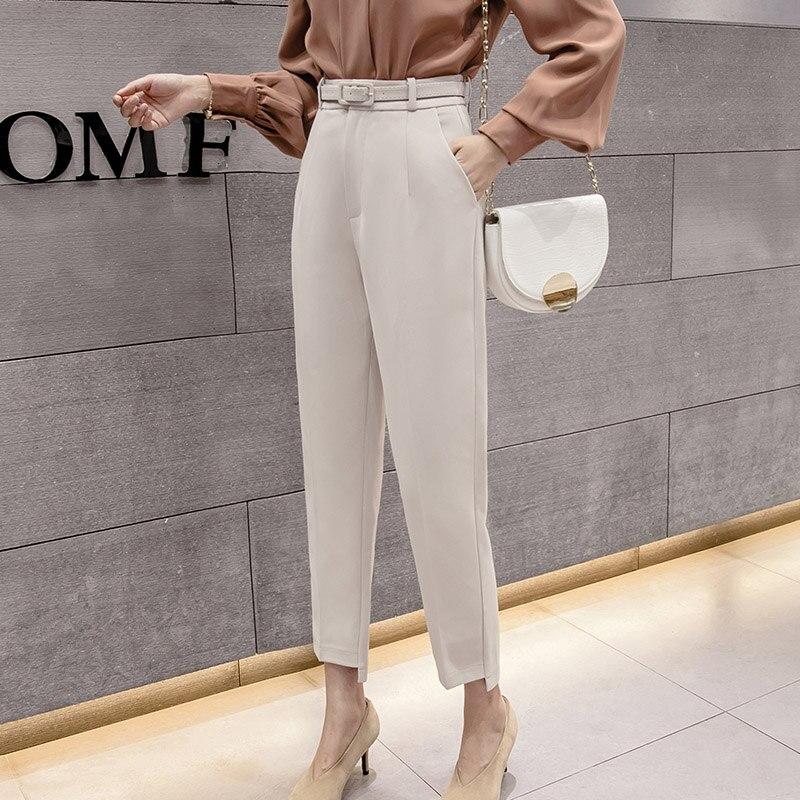 العصرية الجديدة الربيع المرأة عادية بلون عالية الخصر السراويل مع حزام الصيف الإناث مستقيم OL Laides سراويلي حريمي