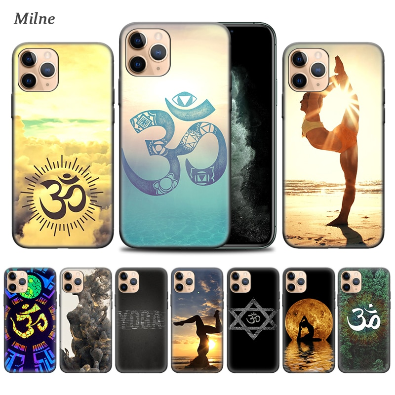Aum Om Yoga caso para Apple iphone 11 Pro XS Max XR X 7 7 6 6S Plus 5 5S SE 5C Negro Bolsa suave de la cubierta del teléfono de Coque