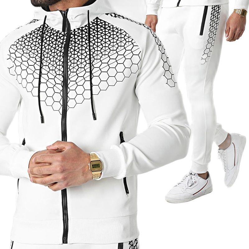 Новинка весна-осень модная мужская спортивная одежда с принтом персонализированный Повседневный свитер на молнии и облегающие брюки из дв...