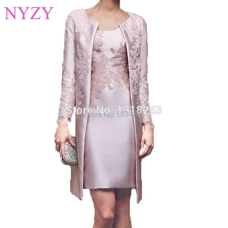 الدانتيل الساتان الوردي يزين 2 قطعة فساتين أم العروس مع سترة 2020 NYZY M2 حفل زفاف ملابس الضيوف رداء كوكتيل