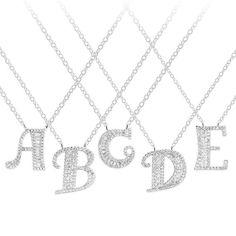 925 Sterling Silber Zirkonia Kristall 26 Initial Name Brief Anhänger Halsketten DIY Custom Schmuck Geschenk