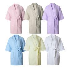 Ladies Women Waffle Bath Robe Cotton Dressing Gown Comfortable Nightwear Terry Robes Hotel Nightgrowns White Sleep Bathrobe New