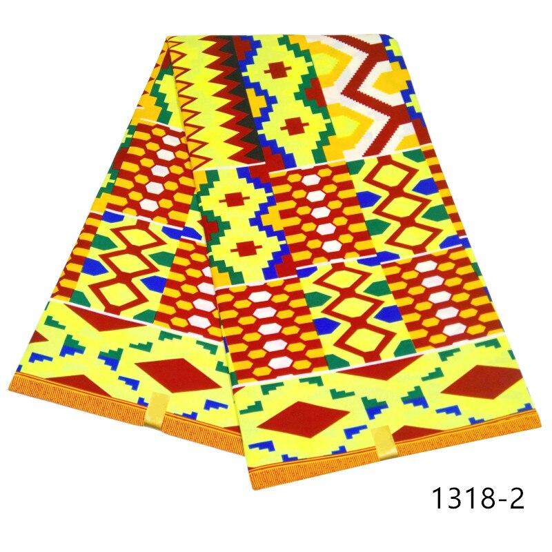 Новейший дизайн Ghanaian Kente, восковая ткань, настоящий 100% полиэстер, восковая ткань для ткани, горячая распродажа, восковая ткань с принтом, 6 ярдов 1318