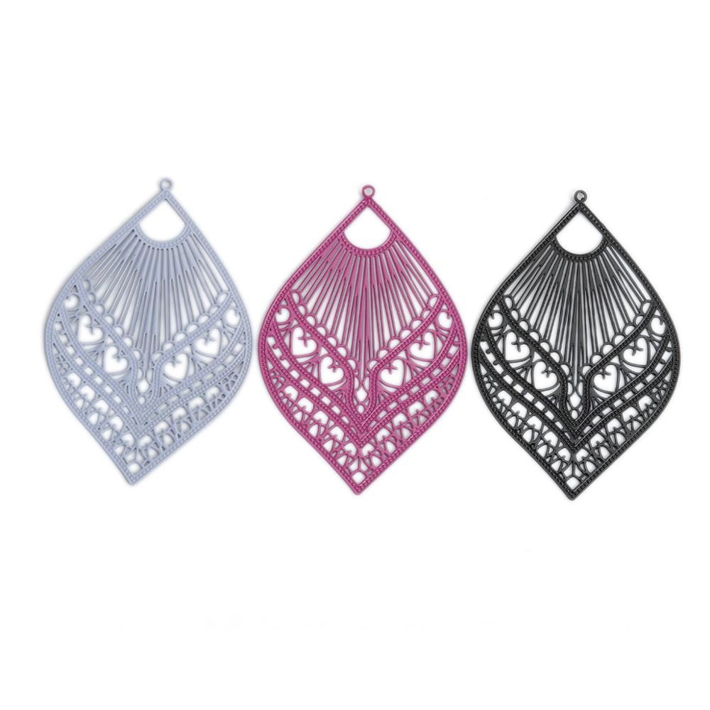 AliExpress - DoreenBeads10 PCs Fashion Copper Filigree Stamping Pendants Black Gray Feather Style Jewelry DIY Findings Charms 59mm x 39mm