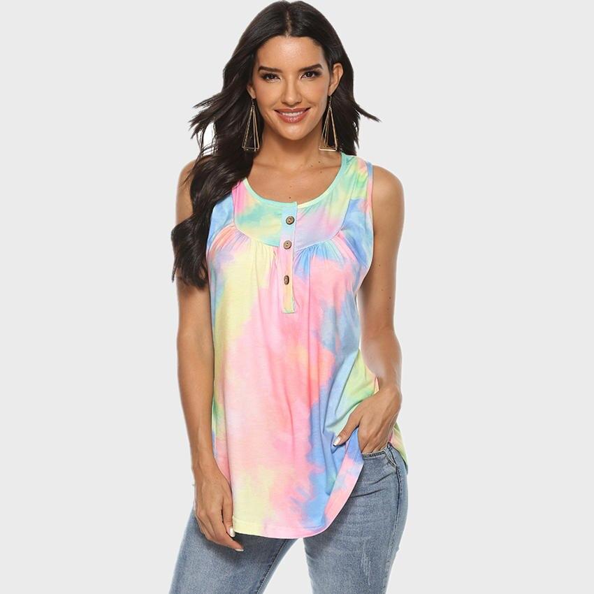 Tie Dye 2020 Women T Shirt Sleeveless Button Long Length Clothes Women Tops O-Neck Casual Top Tee Loose Plus Size Tees Female