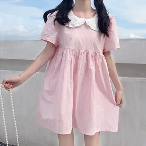Japanese Sweet Cute Bow Doll Collar Dress Design Non-Mainstream Pink Backless Medium-Length Dress Female Summer lolita dress