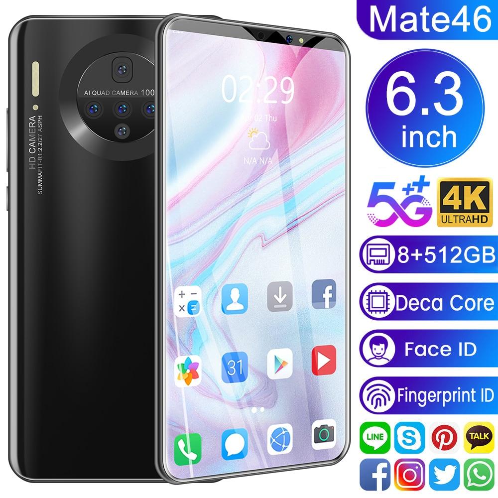 Смартфон Mate46 Pro, 12 + 6,3 ГБ, Android, камера 48 МП, 512 мАч, 5600