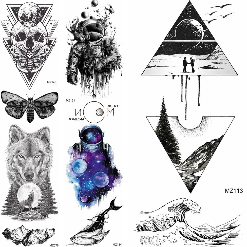 Triángulo geométrico bosque montaña tatuajes temporales calcomanías para mujeres Sexy arte corporal grande mar ola tatuaje hoja tatuaje de papel