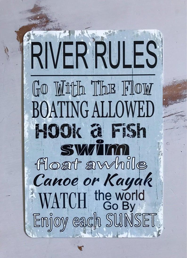 Речные правила-синий знак-металлический знак-пляжный Декор-домашний декор-знак на лодке-также делает подарок.
