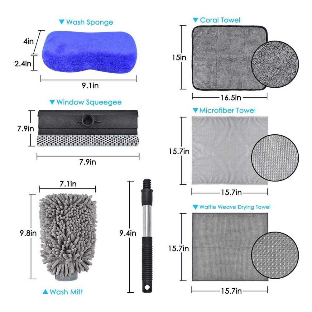 6pcs/Set Car Wash Cleaning Kit Auto Wash Mitt Microfiber Sponge Glove Towel Wheel Brush Pad Car Detailing Washing Tools