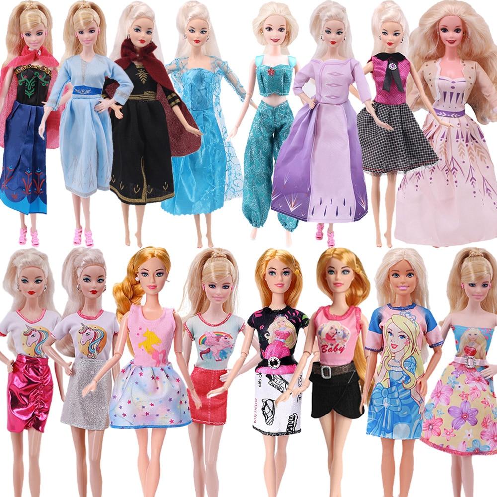 4 шт., одежда для Барби, платье принцессы Disneey, этнический цвет для кукол Барби 11,8 дюйма и 28 см, аксессуары для Барби
