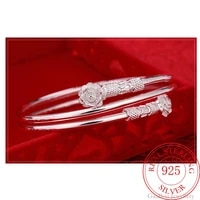 fashion 925 sterling silver woman cuff bracelet double headed floral adjustable lucky bangle girls party jewelry gifts