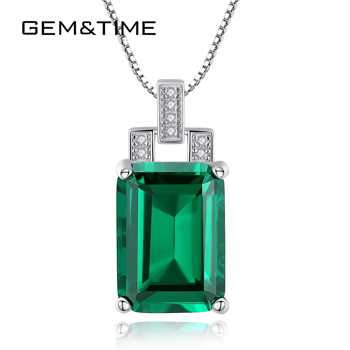 Edelstein & Zeit Erstellt Quadrat Smaragd Saphir Anhänger Neckalce 100% Sterling Silber 925 Choker Halskette Charme Hochzeit Schmuck SN0107