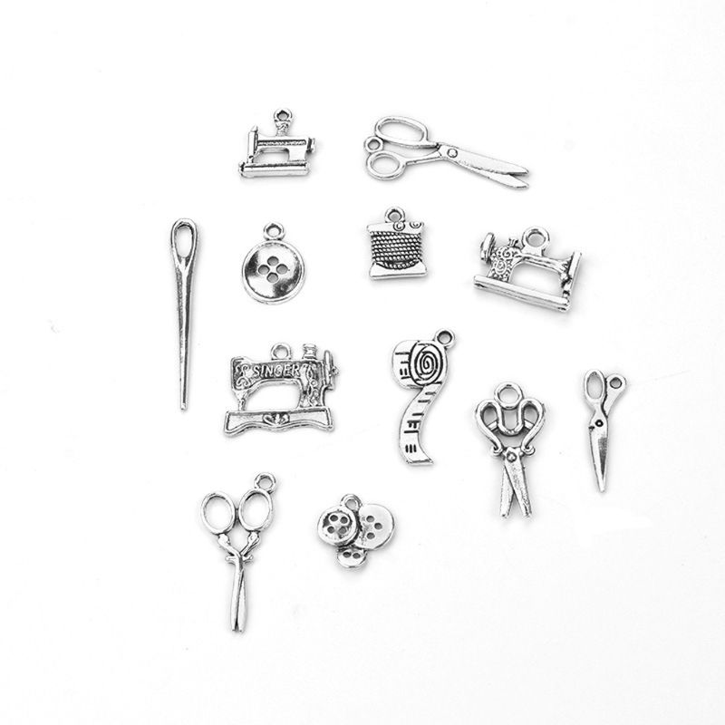12Pcs Sewing Charms Collection Antique Silver Scissors Pendant Jewelry Findings 97QF
